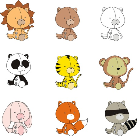 animals plush cartoon set