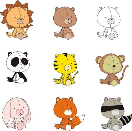 animals plush cartoon set  Vector
