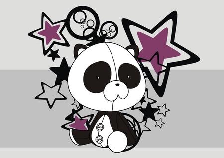 panda plush cartoon wallpaper Stock Vector - 8495205