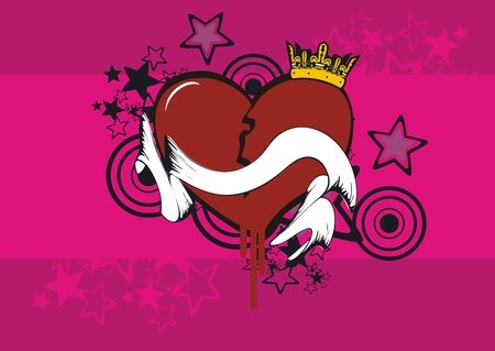 cartoon heart background  Vector