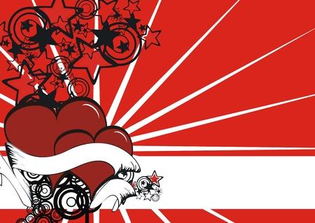 cartoon heart background Vector