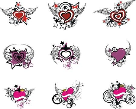 Winged hart set Stock Illustratie