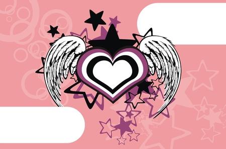Gevleugelde hart achtergrond  Stockfoto - 8495338