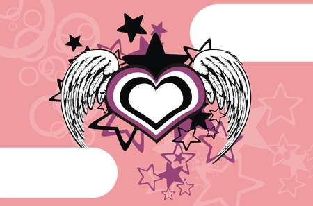 winged heart background Stock Vector - 8495338
