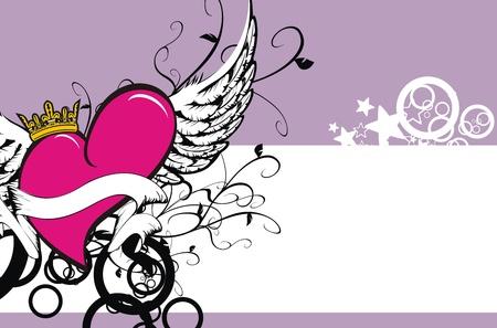 winged heart background Vector