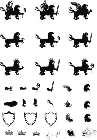 Ensemble des armoiries gryphon héraldique Banque d'images - 8495426