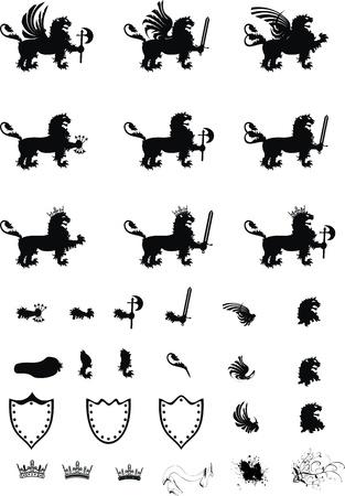 heraldische gryphon wapen set Stock Illustratie