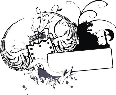 winged lion: Escudo her�ldico de grifo  Vectores