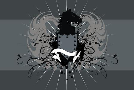 heraldic horse background  Vector