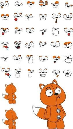 fox plush cartoon  Illusztráció