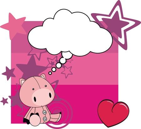 pig plush card cartoon  Vector