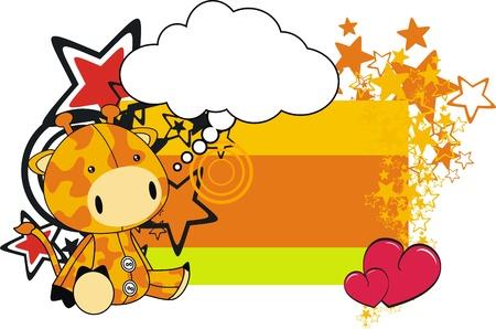 giraffe plush cartoon card  Illustration
