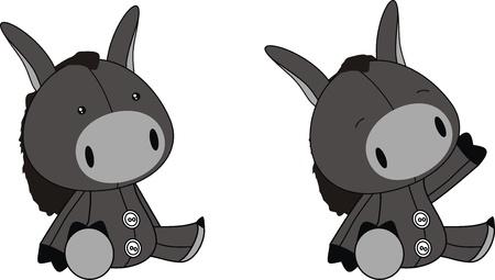 donkey plush cartoon  Vector
