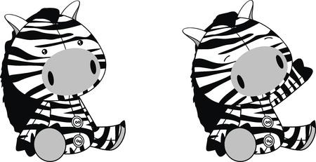 zebra plush cartoon  Vector