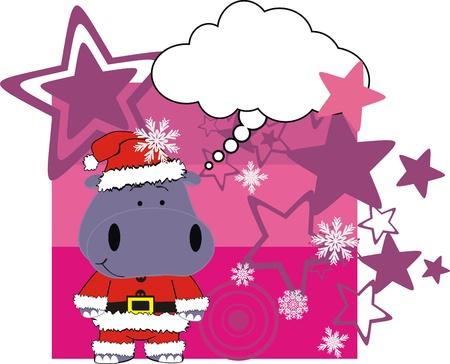 hipopotamo caricatura: tarjeta de Navidad de dibujo animado de Hipona  Vectores