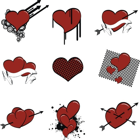 valentine heart cartoon set Vector