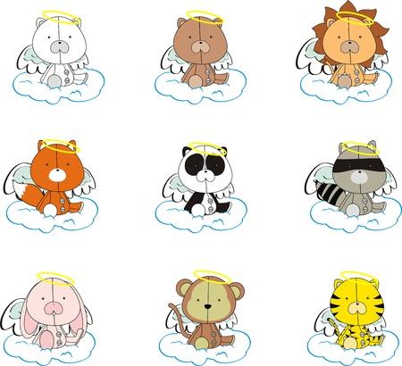mono caricatura: conjunto de dibujos animados de angel de animales  Vectores