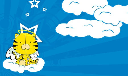 tiger  angel cartoon background Stock Vector - 8618226