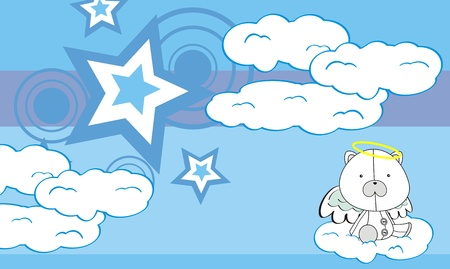 polar bear angel cartoon background  Vector