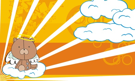 teddy  angel cartoon background  Vector