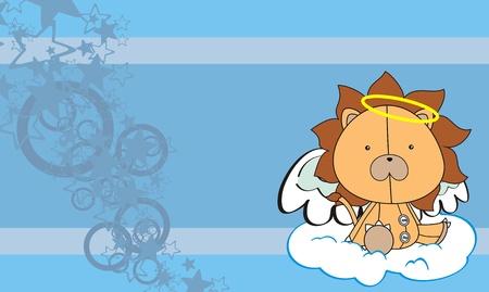 angel cartoon: lion  angel cartoon background  Illustration