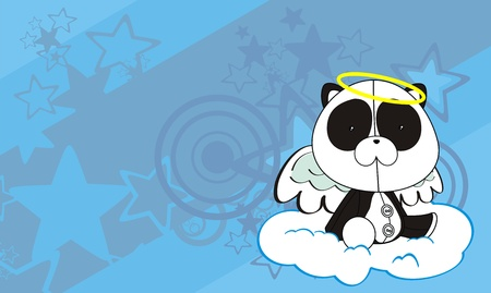 panda  angel cartoon background   Vector