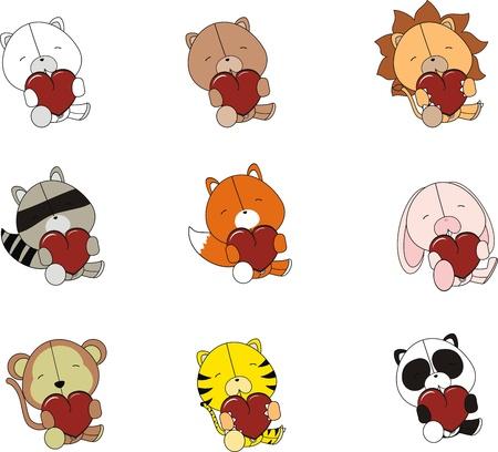 pack animal: set di animali di peluche di San Valentino   Vettoriali