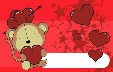 monkey valentine plush background  Stock Vector - 8641651