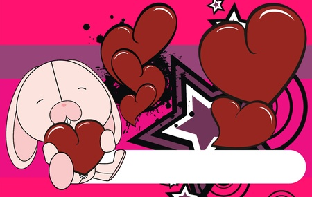 Bunny valentine pluche achtergrond   Stock Illustratie