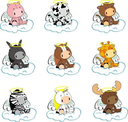 angel cartoon: animals angel cartoon set