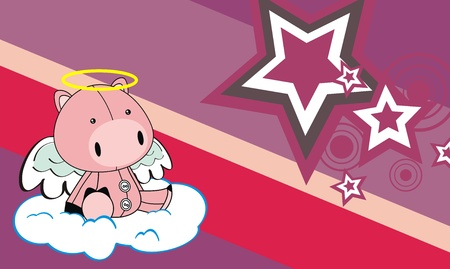 pig angel cartoon background