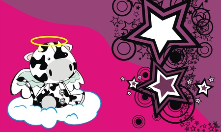 baby toy: cow angel  cartoon background