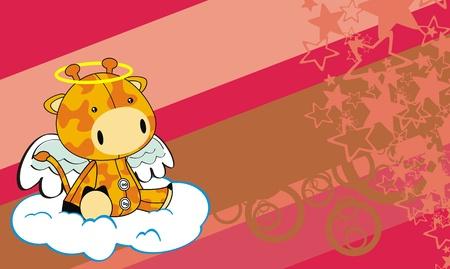 Fondo de dibujos animados de angel de jirafa  Foto de archivo - 8722072