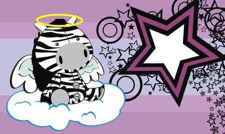 zebra angel cartoon background  Çizim