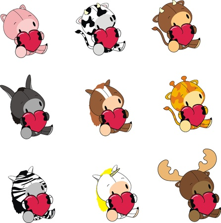 animals cartoon valentine set Çizim