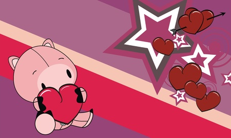 pig cartoon valentine background  Vector