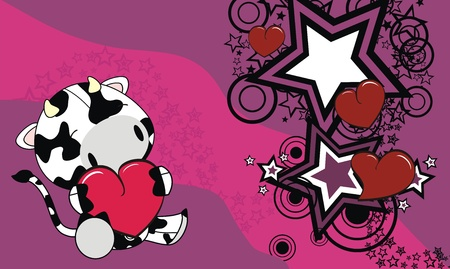 cow  cartoon valentine background  Vector