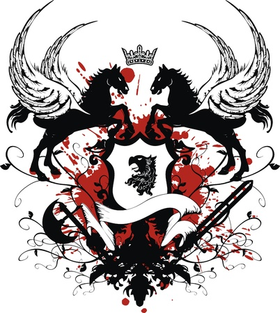 heraldic coat of arms tshirt in format very easy to edit4 Vector