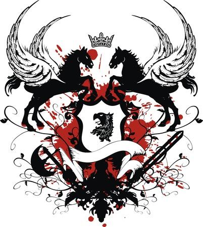 heraldic coat of arms tshirt in format very easy to edit4 Vector