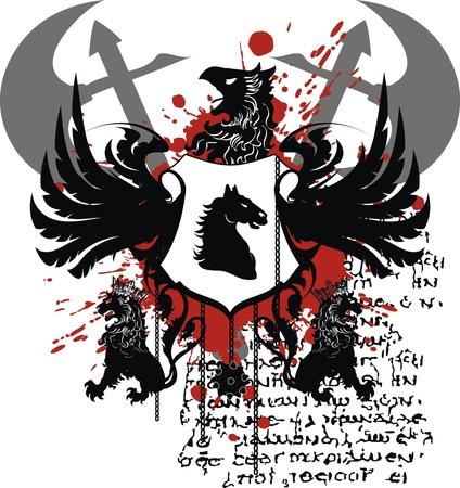 heraldische wapen tshirt in formaat zeer eenvoudig te edit8 Stock Illustratie