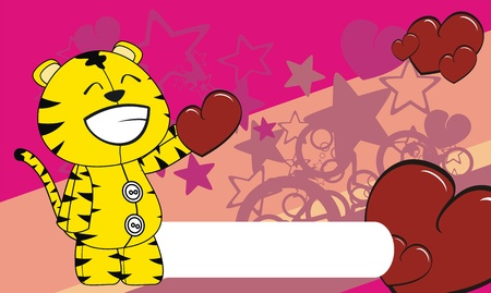 edit valentine: tiger  valentine cartoon background in format very easy to edit Illustration
