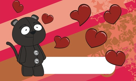 edit valentine: panther cartoon valentine background in format very easy to edit Illustration