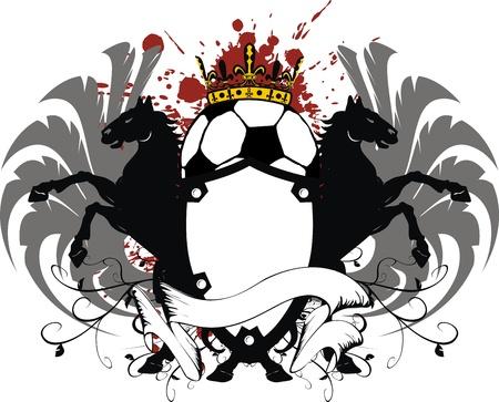 heraldische soccer wapen  Stock Illustratie