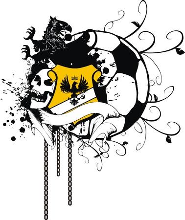 heraldic soccer coat of arms  Vector