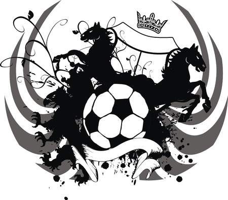 heraldic soccer coat of arms in format very easy to edit6 Vector