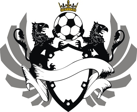 heraldic soccer coat of arms in format very easy to edit3 Illustration