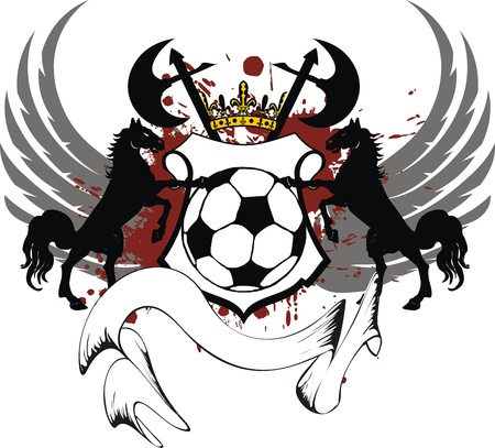 heraldic soccer coat of arms in format very easy to edit2 Vector