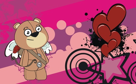 teddy cupid cartoon background  Vector