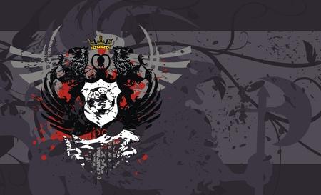 soccer: heraldic soccer coat of arms background  Illustration
