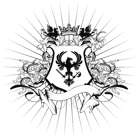heraldic coat of arms ornament Illustration